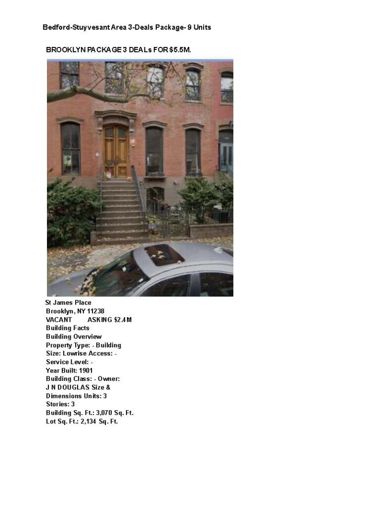 Bedford-Stuyvesant Area 3-Deals Package- 9 Units